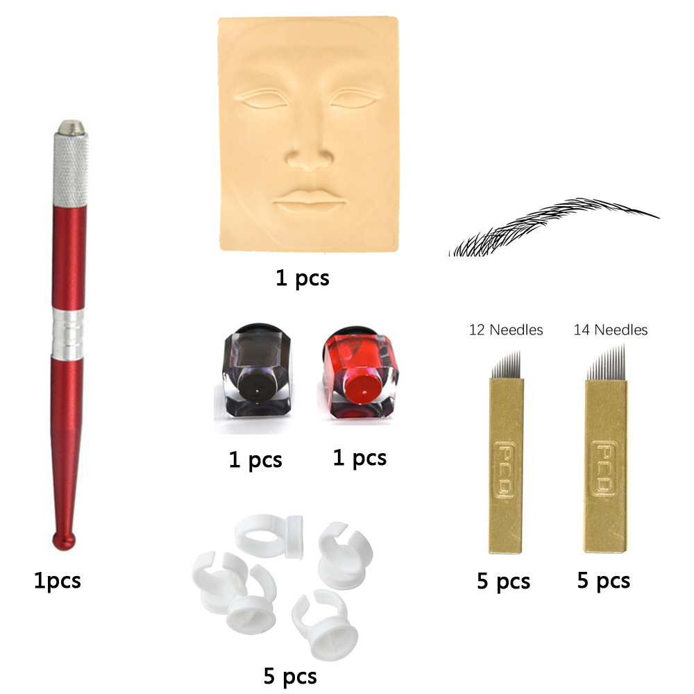1 Set Practice Eyebrow Tattoo Kit Tattoo Pigments/Microblading Needle/Ink Cup/Tattoo Pen/Practice Skin Microblading Accesories 2pcs blue silicone permanent makeup eyebrow tattoo practice skin practice skin for microblading tattoo machine