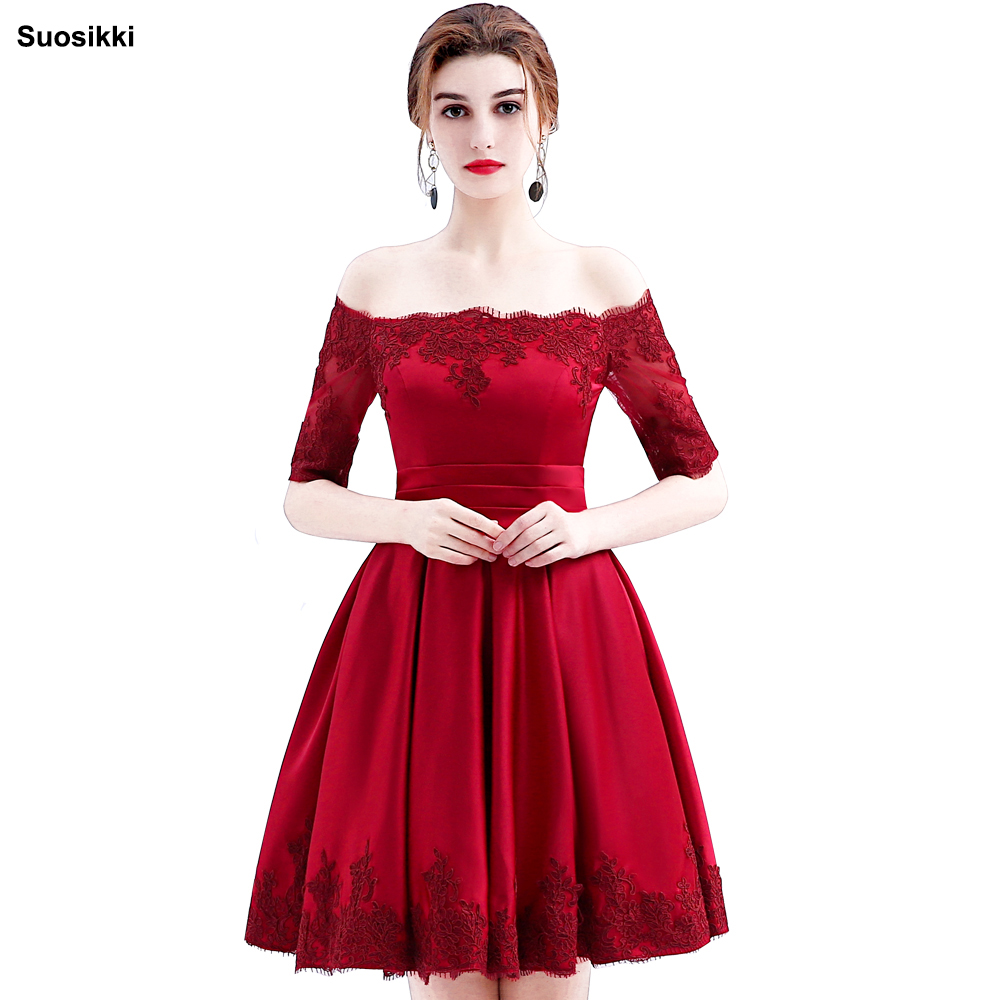 Suosikki 2017 Wine Red Lace Embroidery Luxury Satin Half Sleeved short Evening Dress Elegant Banquet Prom