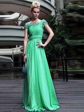 Neue Ankunft Lange Spitze Abendkleid Kleid Mit Ärmeln A-linie U-ausschnitt Chiffon Kurzarm Abend Formales Kleid Drapierte F2013