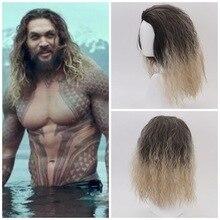 Film Justice League Aquaman Kıvırcık peruk Aquaman Rol Oynamak Poseidon Sentetik Saç Komik Cosplay Kostüm Peruk Erkekler Için Jason Momoa