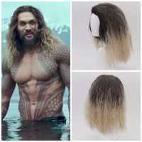 Film Justice League Aquaman perruque bouclée Aquaman jeu de rôle poséidon cheveux synthétiques bande dessinée Cosplay Costume perruques pour hommes Jason Momoa