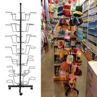 Cap Homdox Metal Hat Hanger Organizer Adjustable Retail Rack Display Rotating Stand 164.5cm/64.2inch Height 7 Layers with Wheels