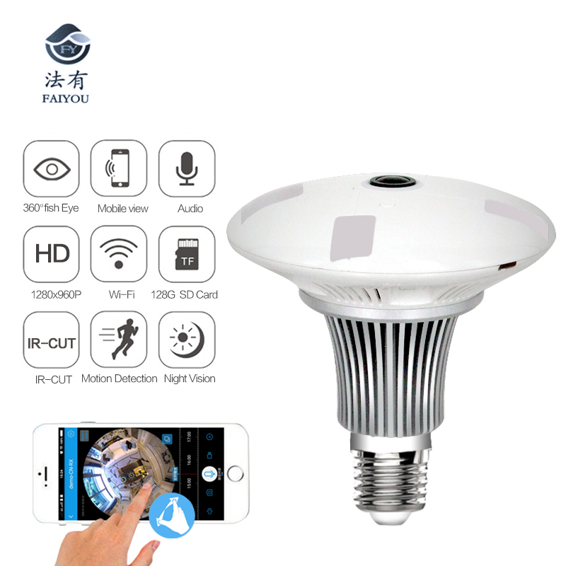 FAIYOU Panoramic Bulb 360 VR 960P 1080P 1 3MP HD IP Camera Smart LED Lights Cam
