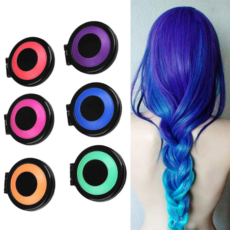 Hot 6pcs/set Temporary Hair Dye Powder Cake Hair Color Crayons Styling Hair Chalk Set Non-toxic Salon Tools Kit For Party