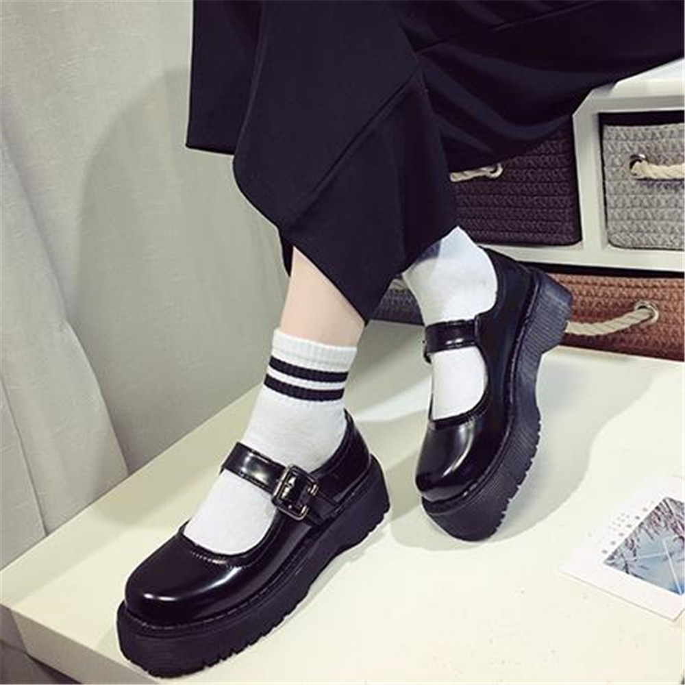 Muffin Shoes Women Japanese Style Round-headed Small Soft-soled  College Doll Single Shoes Women