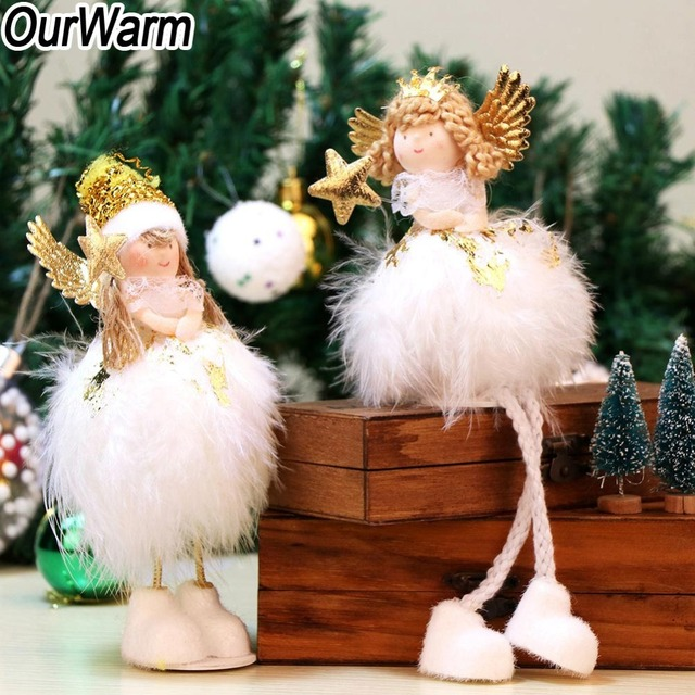 ourwarm 2 style white christmas angel decoration new years toys christmas gifts decorations for home decoration