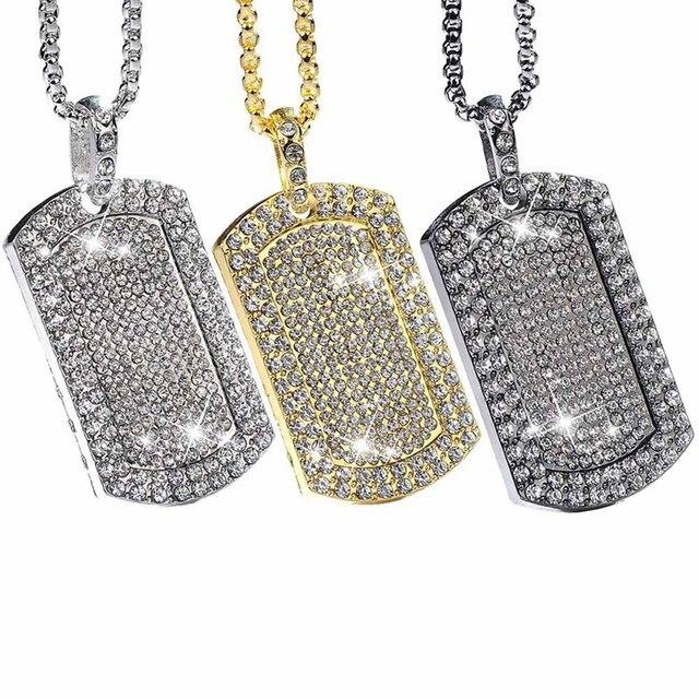 5072d11fc476 Hombre helado colgante cadena Hip Hop raperos Micro Octágono plaza de  diamantes de imitación colgante de