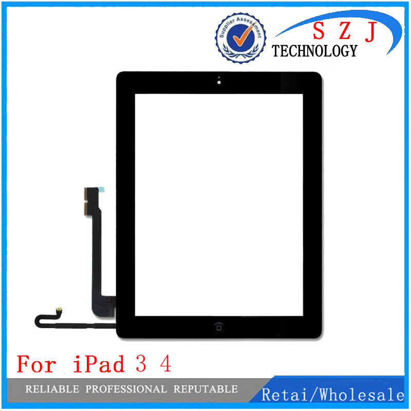 New 9.7'' inch For Ipad3 4 touch screen glass digitizer front Glass Digitizer panel +homebutton+adhesive tape for Black White new touch panel for ipad air 1 ipad 5 touch screen digitizer flex cable front glass assembly adhesive with home button t0 3