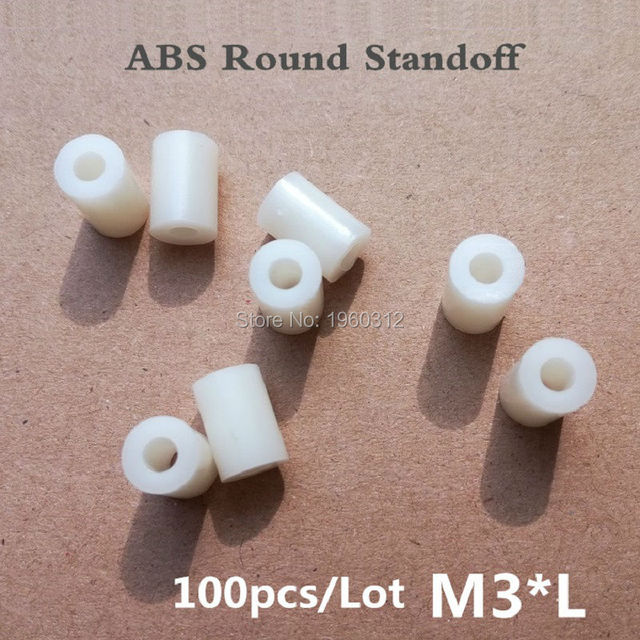 100pcs/lot M3*L(L=1/2/3/4/5/6/7/8/10mm )  ABS  Nylon Round Standoff Spacer, PCB board spacer OD(7MM) X ID(3.2mm)*L