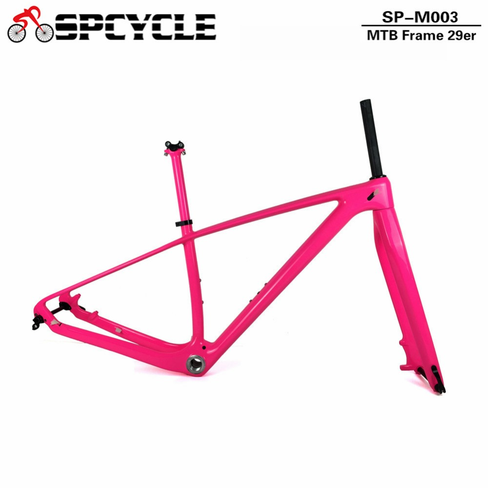 Spcycle 27.5er 29er Full Carbon Mountain Bike Frameset T1000 Carbon BSA MTB Bicycle Frame Fork Seatpost Size 15/17/19inch