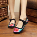 New Spring Chinese style old Beijing delicate fashion flowers embroidery ladies travel flats shoes  oxford shoes for women