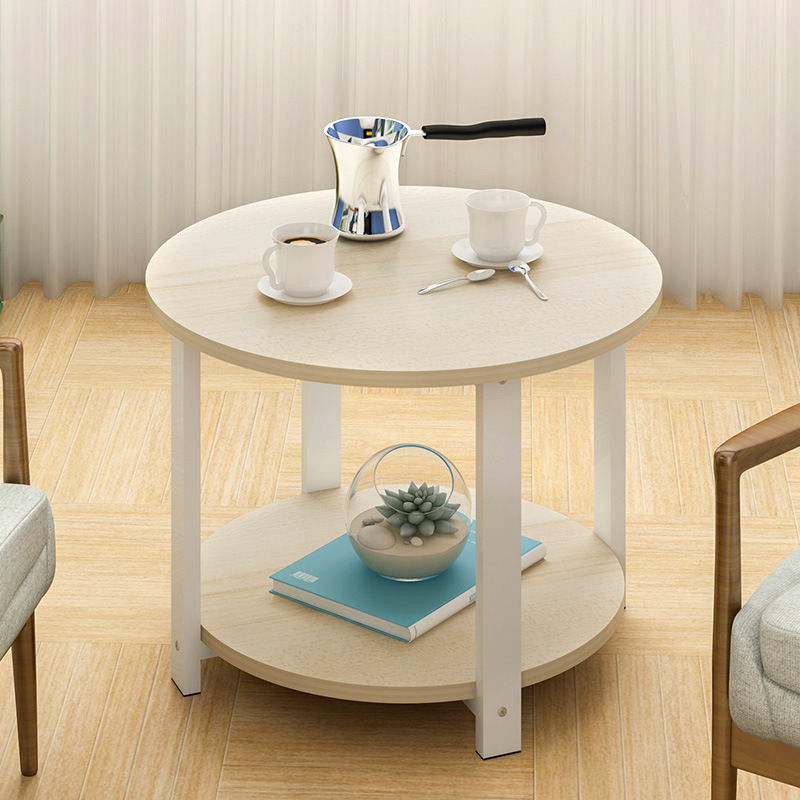 High Quality Round Coffee Table 2 Layers Side Desk Assembly Living Room MDF+Steel Storage Table M L Size