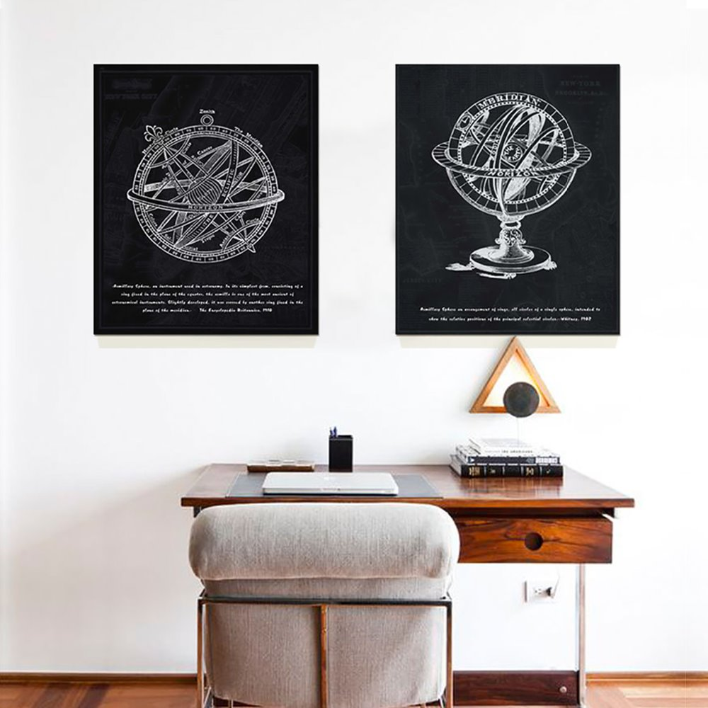 2pcs Armillary Sphere The earth Horizon Canvas painting Home decor Wall pictures for living room Unframed