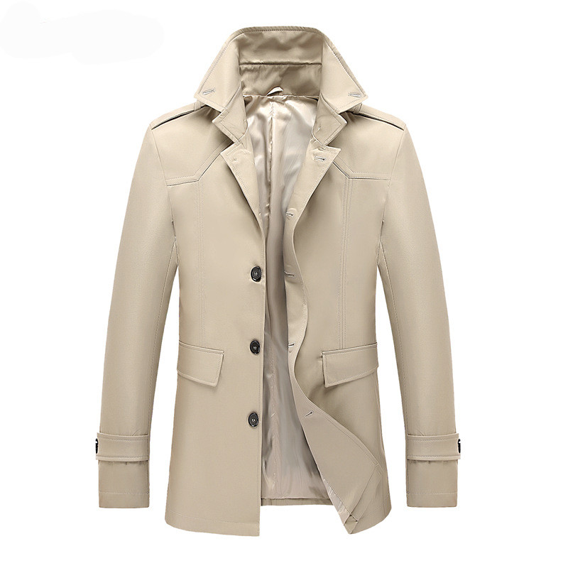 MORUANCLE Men Fashion   Trench   Coat British Style Overcoat Male Spring Autumn Windbreaker Outerwear Solid Color Single Breasted