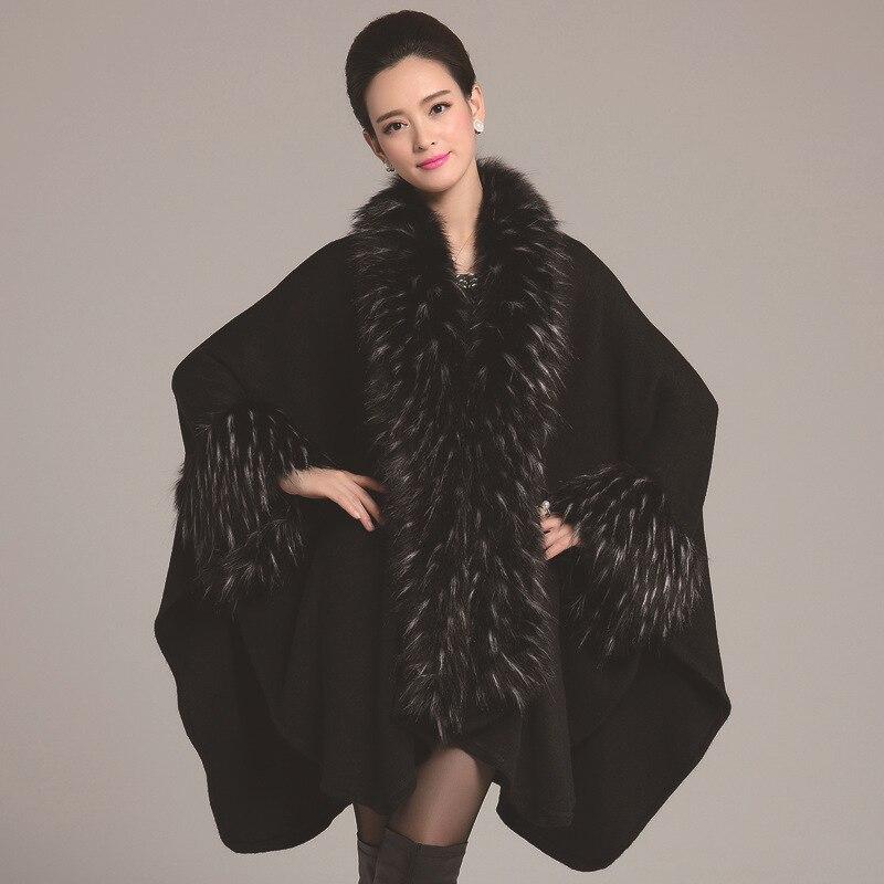 Mode Femme 2017 Manches Noir Fourrure Survêtement Vestes Black De Manteau Plus Longues Manteaux Femmes Long Taille La Dames Fausse Hiver qnnRwBO5T