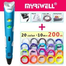Myriwell 3d עט 3d עטים, 1.75mm ABS/PLA נימה, ילד מתנת יום הולדת, 3 d pen3d דגם, Creative3d הדפסת pen 3d 2018 חכם
