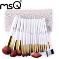 MSQ High Quality Fashion Synthetic Hair 15pcs/set Makeup Brush Set White Handle Cosmetics Pincel Maquiagem With PU Leather