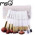 Moda pelo sintético 15 unids/set msq alta calidad pincel de maquillaje juego de manijas blanco cosméticos pincel maquiagem con cuero de la pu