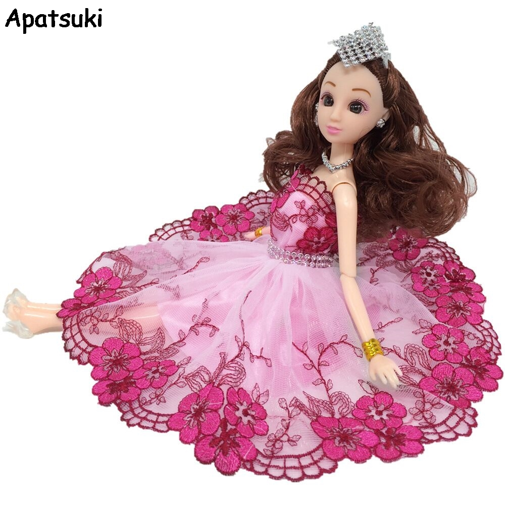 Toys & Hobbies Dashing Pink Flower Leaves Crystal Dancing Costume Fashion Clothes For Barbie Doll Lace Dresses 1/6 Party Dress For 1:6 Bjd Dolls Toy