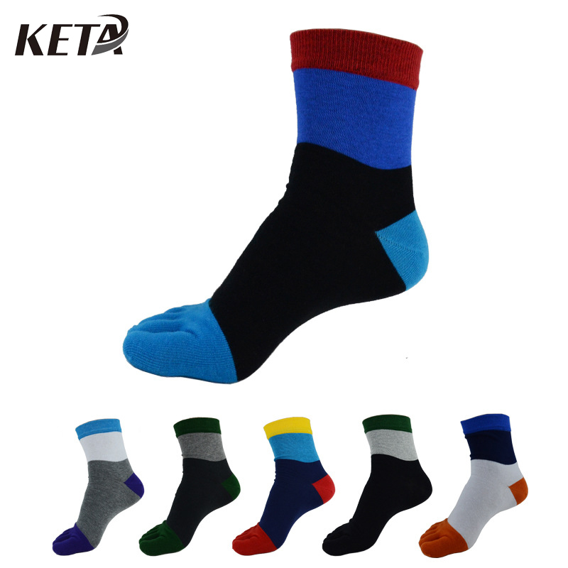 KETA New Designer Crew Cotton Men Toe Socks Male Fashion Casual Five Finger Socks Men Colorful Business Dress Socks (6Pairs/lot)