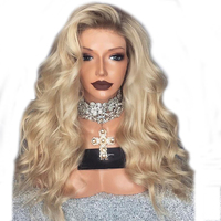 DLME Synthetic Lace Front Wig Black To Brown Short Root Ombre Micro Braid For Women With