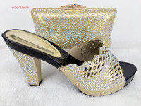 New Design Italian Shoe With Matching Bag Fashion Lattice Pattern Italy Shoe And Bag To Match