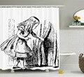 Duschvorhang Kunst Schwarz und Weiß Alice Skizze Druck Wasserdicht Mildewproof Polyester Stoff Bad Vorhang Set-in Duschvorhänge aus Heim und Garten bei
