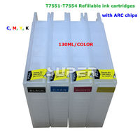 T7551 T7554 Refill Ink Cartridge With Chip For EPSON Workforce Pro WF 8010DW 8090DW