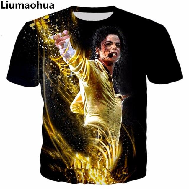 Liumaohua 2018 nuevo estilo hip hop camiseta Rey del Pop Michael Jackson 3D  imprimir mujeres . Sitúa el cursor encima para ... 4fbcba44d86