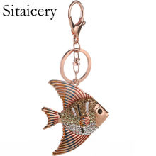 Sitaicery Lovely Goldfish Fish Crystal Rhinestone Charm Pendant Purse Car Key Ring Keychain Party Favorite Gift High-Quality(China)