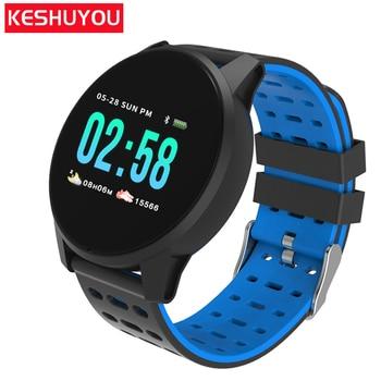 KESHUYOU W1 سوار ذكي شاشة جهاز تعقب للياقة البدنية ضغط الدم مراقب معدل ضربات القلب الفرقة الذكية ضغط الدم لالروبوت IOS