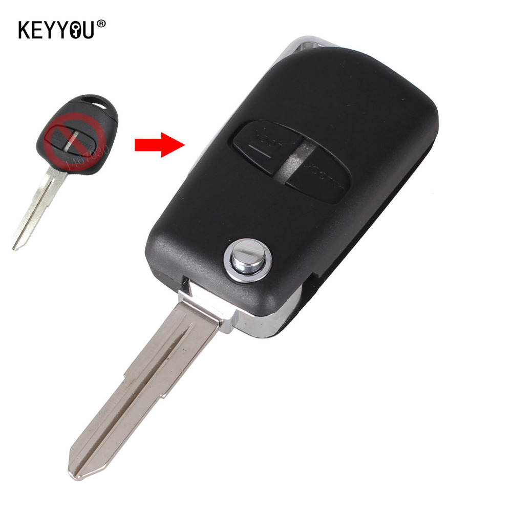 KEYYOU Modified Remote Key Shell Case 2 Buttons For Mitsubishi Outlander Grandis Pajero Lancer Car Cover Right groove With Logo keyyou remote key case shell for peugeot 407 407 307 308 607 key cover 3 buttons flip key case with car symbol with logo