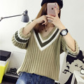 Donna 2017 Women Pullover Stripes Knitted V-Neck Sweaters Batwing Sleeve Loose Pullovers Lady Casual Knitting Sweater M1109C