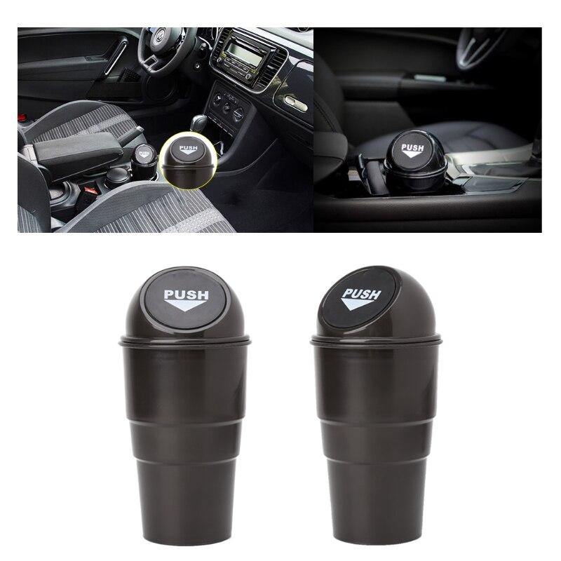 Black Plastic Cover Car Ashtray Trash Bin Garbage Container Car Accessories