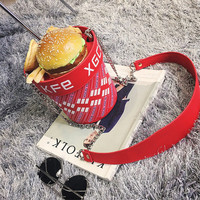 Personalized ladies chain letters hamburger fries fun across the body bag mini hamburger family bucket small bag Shoulder
