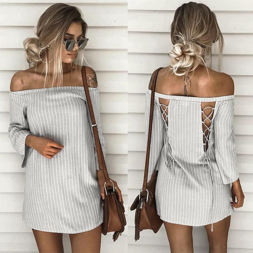 Женщины полосатый dress sexy с плеча slash шеи мини dress casual beach dress robe femme 2017 летний новый прибытие # l