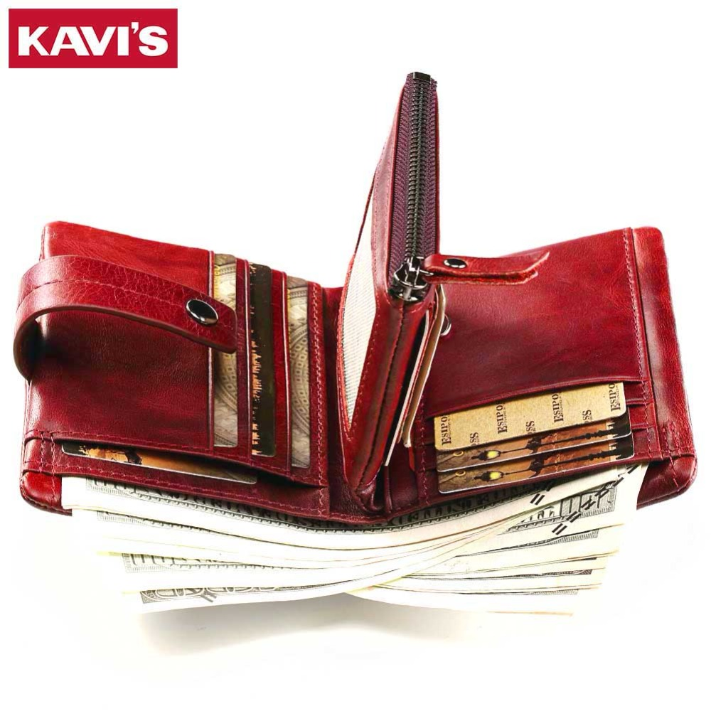 KAVIS Women Coin Purse Small Wallet Female Genuine Leather Walet Portomonee Clamp For Money Bag For Girls Lady Zipper And Vallet