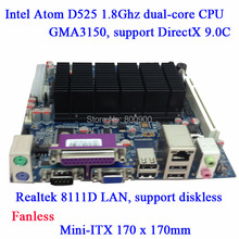 All solid Atom D525 Fanless Mini ITX industrial motherboard 6COM LVDS GMA3150 support DirectX 9.0C diskless 6 COM small pc MB