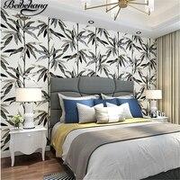 Beibehang בסגנון דרום מזרח אסיה נורדי רקע סלון חדר שינה טפט אמריקאי שאינו ארוג פשוט עלים במבוק