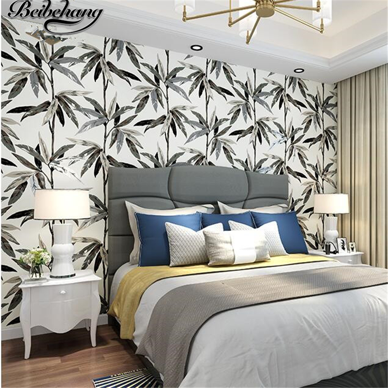 beibehang Southeast Asian style Nordic wallpaper bedroom living room backdrop simple American non-woven wallpaper bamboo leaves book knowledge power channel creative 3d large mural wallpaper 3d bedroom living room tv backdrop painting wallpaper