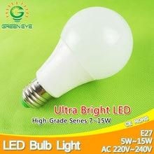 Aluminum Cooling LED Bulb 3~15w E27 LED Lamp 220v LED bulb Light 5W 7W 9W 12W Lampara Lampada LED Bombilla Ampoule SMD 5730