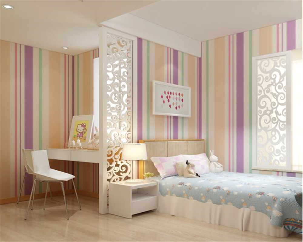 beibehang Children room papel de parede 3d wallpaper non-woven boy girl girl wall paper living room simple thickening stripes beibehang environmental non woven boy girl warm cartoon children s room blue sky clouds balloon wallpaper