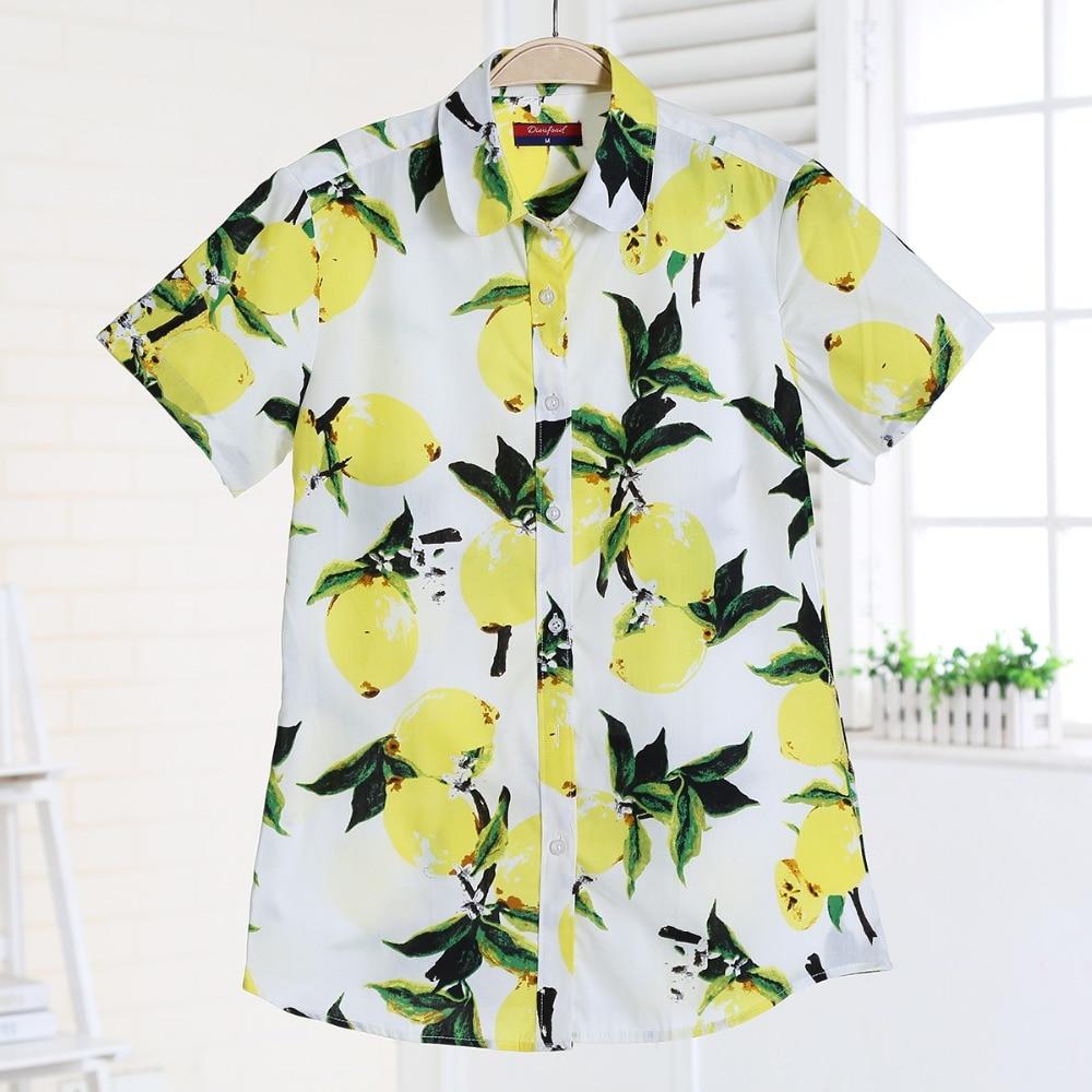 2017-es nyári póló Női rövid ujjú blúz Virágos nyomtatás Rövid női tengerparti póló Alkalmi plusz méretű női pamut felső Dioufond