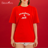 Korean Fashion Women Tee Shirt Tops Cute Strawberry Letters Printed Red Pink Ladies Loose T Shirts