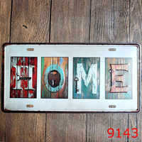 Vintage Metal Tin Signs English Car Number License Plate Plaque Poster Bar Club Wall Garage Home Decoration 15*30cm
