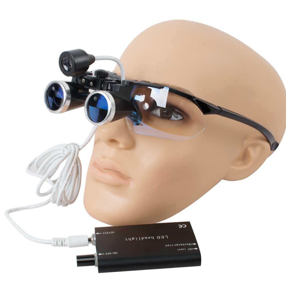 Отбеливание зубов, черный Стоматологический Хирургический медицинский бинокулярный лупы 3,5X420 мм оптическая стеклянная лупа + Стоматологическая лампа