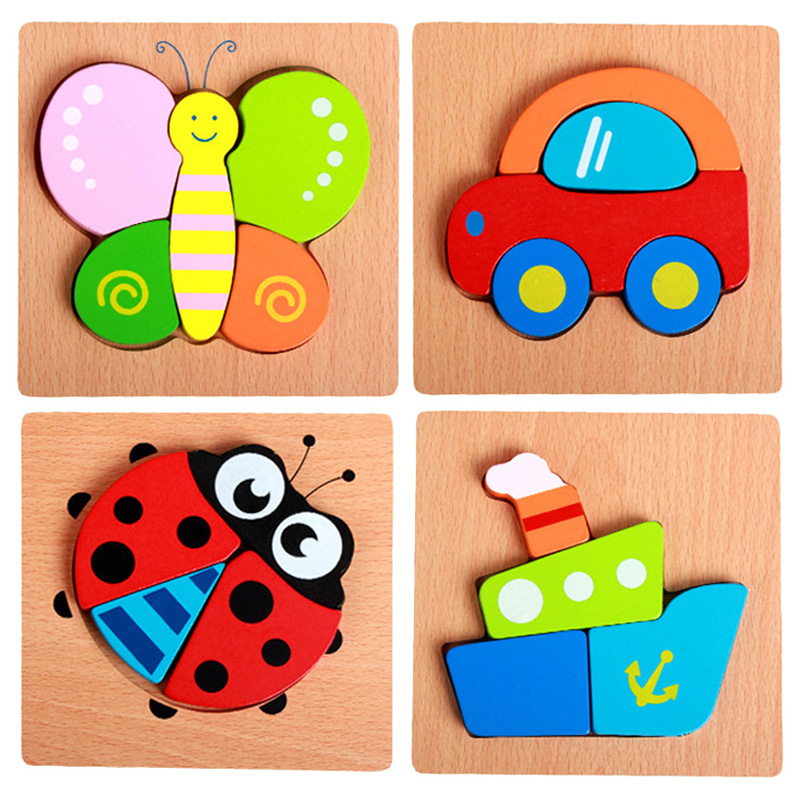 Hand Grab Board Puzzle Wooden Toys For Child Cartoon Animal Fruit Wood Jigsaw Kids Baby Early Educational Learning Toy