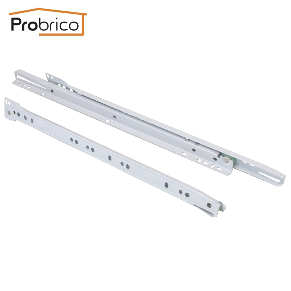 Probrico 2 Pair Keyboard Drawer Sliding DSMH102-16 Steel White Length 400mm 16 Furniture Cabinet Kitchen Cupboard Drawer Slides probrico 5 pair keyboard sliding drawer dsmh102 12 steel white length 300mm 12 furniture cabinet kitchen cupboard drawer slide