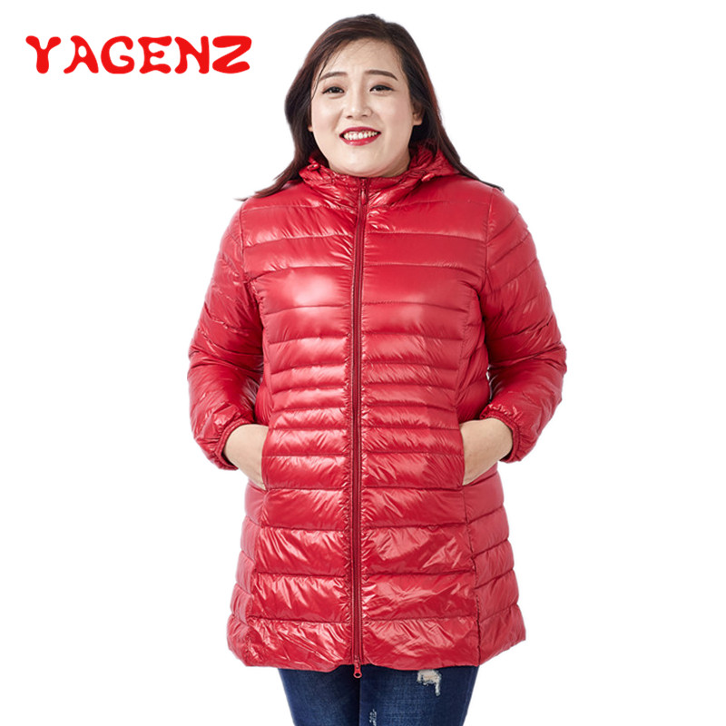 YAGENZ Oversized Thin Down Jackets   Parka   Winter Jacket Womens Clothes Hooded Cotton Coat 12 Colors Long Coat Plus size S-7XL 209