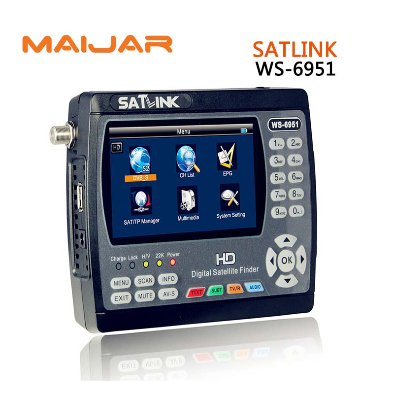 Original Satlink WS-6951 DVB-S/S2 HD Satellite Finder MPEG-2/MPEG-4 compliant and backlight Satlink 6951 Meter better Sathero anewkodi original satlink ws 6906 3 5 dvb s fta digital satellite meter satellite finder ws 6906 satlink ws6906